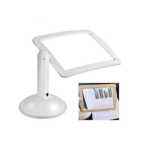 Brighter Viewer, LED Lupe, Leselupe 3X, 360 Rotation mit 2 LED-Lampen, stromversorgung durch 4 x AAA Batterien, zum Lesen von Kleingedrucktem, Karten, Münzen, Briefmarken & Schmuck (weiß)