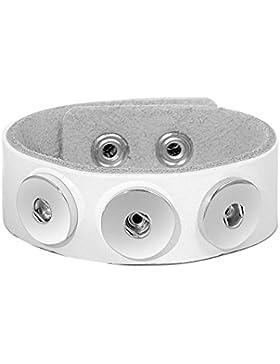 Andante Leder ARMBAND für Chunks Click-Buttons mit Druckknopf-Verschluss (18-22 cm) Weiß