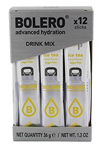 Iced Tea Lemon Bolero Drink Sticks, 12 sticks to mix with 500ml of water, ideal for hiking, travelling, camping, hydration, diabetic