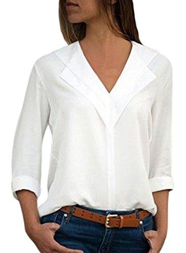 Aleumdr Bluse Damen v Ausschnitt Langarm Causal einfarbig Oberteil Shirt Freizeit Tunika mit Knopf Hemd Oberteile Loose Vintage Weiß L