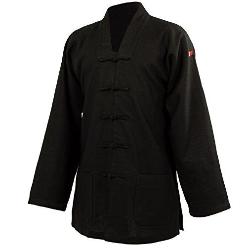 wu designs Leinen (Schwer) Kung Fu & Tai Chi Shirt V-Kragen Langarm - Taiji Anzug Schwarz 165