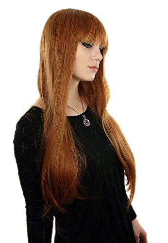 Prettyland C1109 - gerade BOB Pony glatt 75cm lange Haare Perücke - orange (Perücke Lange Orange)