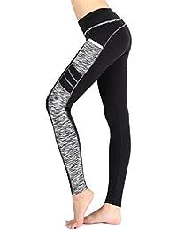 Munvot Legging de Sport Femme Taille Haute Collants Running Poches Pantalon  Amincissant Zumba Fitness 75ed41baf15