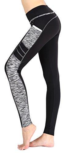 Munvot Leggings de Sport Femme Collants Maigre Running Fitness Pantalon Sport avec Poche Taille Normale Blanc(Longue Capri Legging)/L
