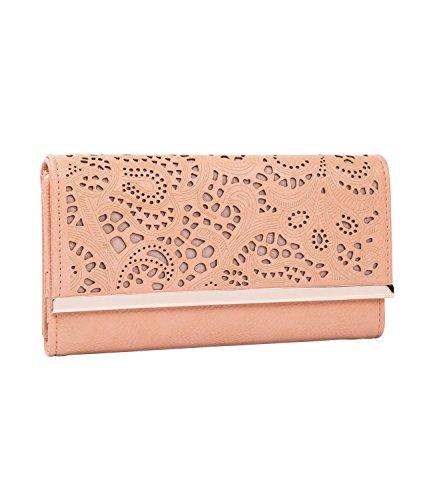 SIX Damen Portemonnaie, längliches rosa Portemonnaie mit Ornamente -