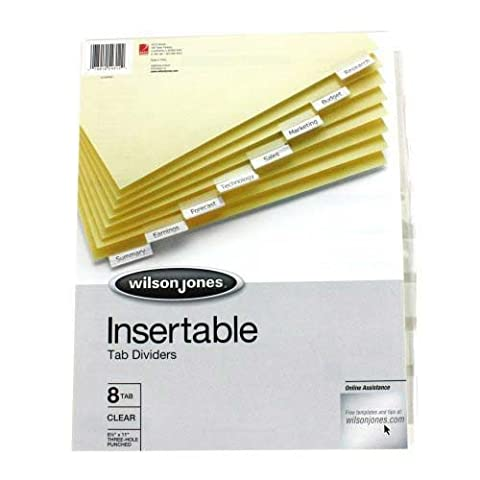Single-Sided Reinforced Insertable Index, Clear, 8-Tab, Letter, Buff, 8/Set by Wilson Jones
