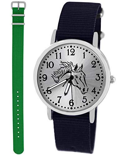 n Uhr Analog Quarz mit 2 Textilarmband 10411 blau grün ()