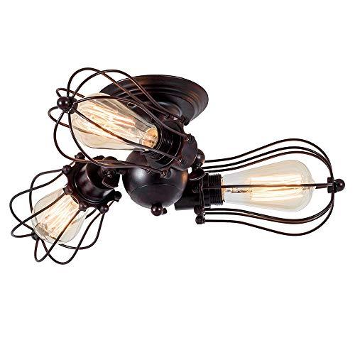Gusseisen Decke Beleuchtung (Vintage Deckenleuchte Industrielüster Verstellbare Steckdose Metalldrahtkäfig Halbschlussmontage Rustikale Decke Leichtmetalllampe Lampen (ohne Glühbirne) (mit 3 Licht) (Rost))