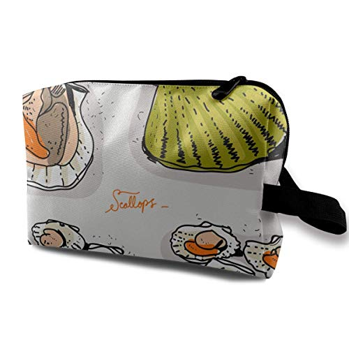 Fresh Scallops Hand DrawnIllustration Portable Travel Makeup Bag,Storage Bag Portable Ladies Travel Square Cosmetic Bag Brown Scallop