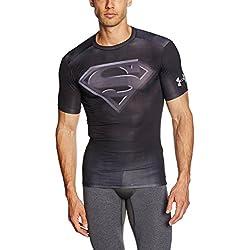 Camiseta de Superman Manga Corta para Hombre, Negro, L