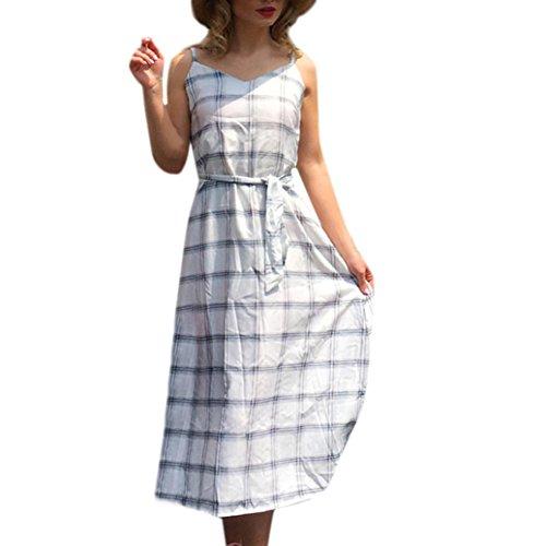 Damen Kleid, Malloom Frauen täglich Sexy Casual Lattice Print VAusschnitt Weste Sleeveless Beach Club Dress Abendkleid Sexy mit ärmel Kleid Röck