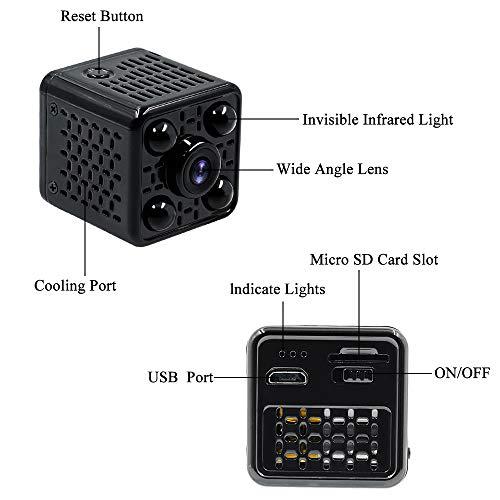 Mini Camera Spia LXMIMI Telecamera Nascosta Telecamera 1080P Wifi Telecamera Spia Videocamera 140 ° Grandangolare Nascosta Microcamera con Visione Notturna e Rilevamento del Movimento - 7