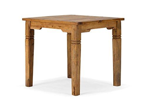 massivum Esstisch Texas 80x76x80 cm aus Massiv-Holz Palisander natur lackiert hell Sheesham - Quadratisch Esstisch