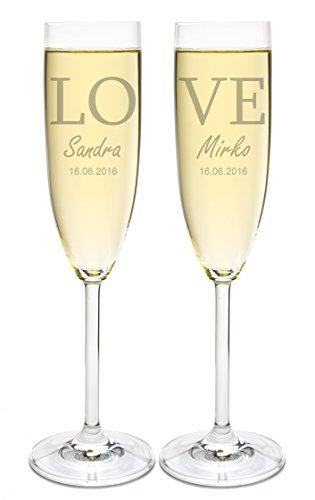 Leonardo 2 Sektgläser mit Gravur des Namens zur Hochzeit Motiv Love Sekt-Glas graviert Geschenkidee