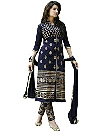 AnK Women's Blue Cotton Embroidered Straight Semi stitched Salwar Suit