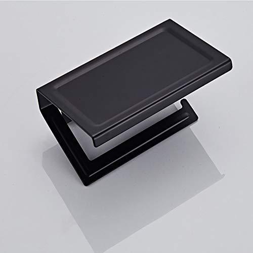 Toilettenpapierhalter Edelstahl-Licht-Papierhandtuchhalter High-End-Badezimmer Mobilpapierrollenhalter Hotel Square Round Toilettenpapierhalter für Bad und Küche ( Color : Black , Size : Free size )