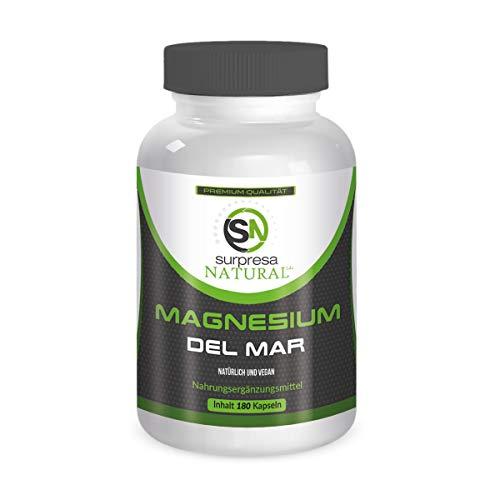 MAGNESIUM DEL MAR | 180 hochdosierte Kapseln | über 400mg reines Magnesium pro Tagesdosis | Natürlich und vegan aus Meerwasser gewonnen | Premium Qualität aus Deutschland