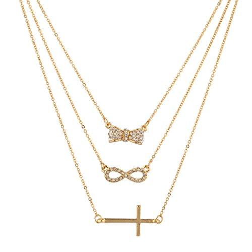 LUX Zubehör Pavé Schleife Infinity Kreuz Christ BFF Best Friends Forever Halskette Set (3PC) (3 Infinity-ringe Best Friend)