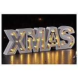Holz Schriftzug XMAS mit 25 warm-weißen LED's - Weihnachtsbeleuchtung Dekoration Weihnachten Licht Deko