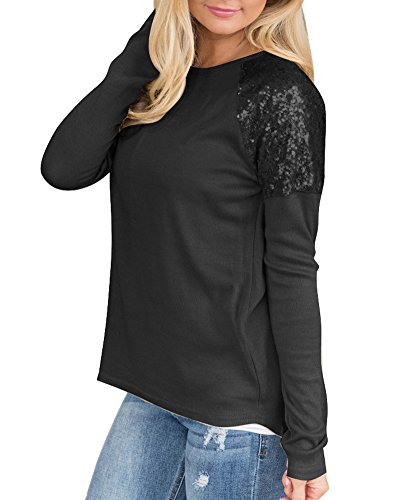 Qitun Donna Casual Camicia Maglietta Felpa Camicetta Maglia Maniche Lunghe T Shirt Nero