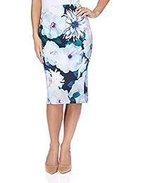Roman Originals Women's Skirt Blue Floral Print Skirt | Sizes 10-20