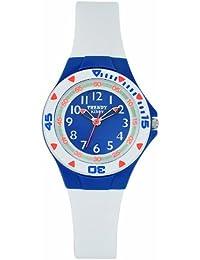Trendy Kiddy - KL216 - Montre Enfant - Quartz Analogique - Cadran Blanc - Bracelet Plastique Bleu