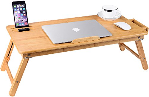 Outstanding Large Bed Tray Nnewvante Adjustable Lap Desk Tilting Top Foldable Table Multi Tasking Stand Breakfast Serving Bamboo Supports Up To 17In Uwap Interior Chair Design Uwaporg