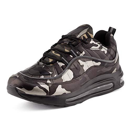 Fusskleidung Herren Damen Sportschuhe Sneaker Dämpfung Turnschuhe Jogging Gym Unisex Camo Silber EU 44 -