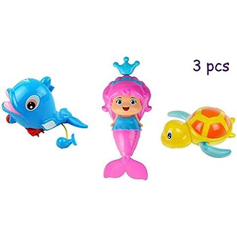 3PCS Bambini Wind-up Pull sorgente d'acqua Giocattoli, Goldore Baby Piscina giocattolo, Dolphin + Sirena + Turtle