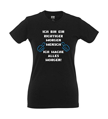 Girlie-Shirt - Ich bin ein richtiger Morgenmensch Schwarz