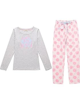 DMMSS Signore simpatico stampato Sleepwear puro cotone a maniche lunghe onda Pajamas Set , figure color , m