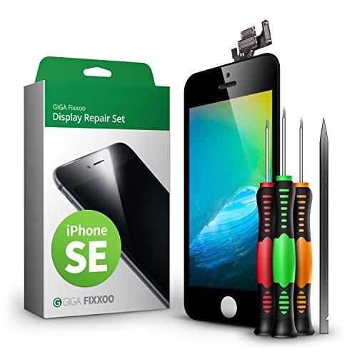 GIGA Fixxoo Display Set kompatibel mit iPhone SE, Reparaturset Komplett Schwarz, Ersatz Bildschirm, Retina LCD Glas mit Touchscreen, inkl. integrierte Frontkamera & Werkzeug