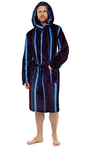 Gensen Herren Morgenmantel Rot Burgundy/Blue / Navy (Hooded) Small
