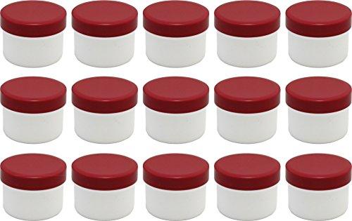 15 Salbendöschen, Creme-döschen, Salbenkruke flach, 35ml Inhalt mit roten Deckeln - MADE IN GERMANY -
