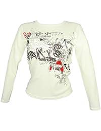 Souvenirs de France - T-Shirt Femme Paris Manches Longues - Couleur : Blanc