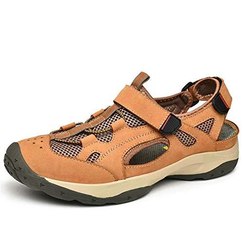 BBTK Outdoor Wasser Schuhe Sandalen Für Männer Slip On Style OX Leder Und Mesh Anti-Kollision (Color : Yellow Brown, Größe : 43 EU) - Leder Mesh Maultiere