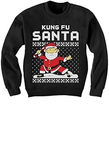 Cadeau de Noël - Drôle - Père Noël Kung Fu Sweatshirt Enfant 4A Noir