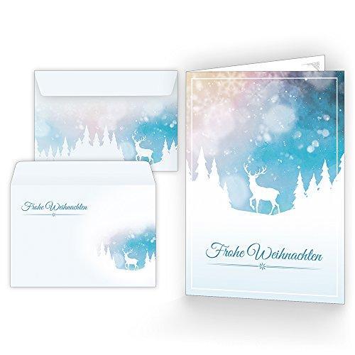 Weihnachtskarten mit Umschlägen (15er Set) - Klappkarten mit Rentier-Motiv für die schönsten Weihnachtsgrüße - Frohe Weihnachten