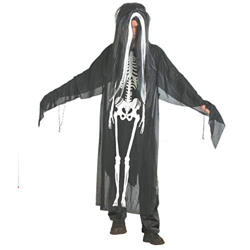 (ZahuihuiM Männer Frauen Happy Halloween Kostüm Zauberer Hexe Mantel Cape Robe Kleidung Lustig Vampir Horror Zombie Hexe Teufel Skelett Outfit Halloween kostüm Für Festliche (Freie Größe, Schwarz))