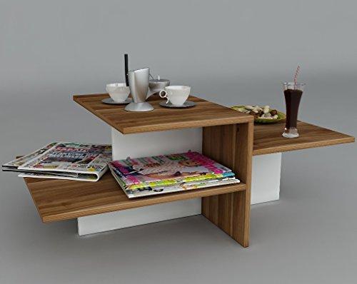 WHISPER-Tavolino-basso-da-salotto-Bianco-Noce-materiale-in-legno-Tavolino-da-divano-Tavolino-da-Caff-moderno-in-un-design-alla-moda-con-mensola