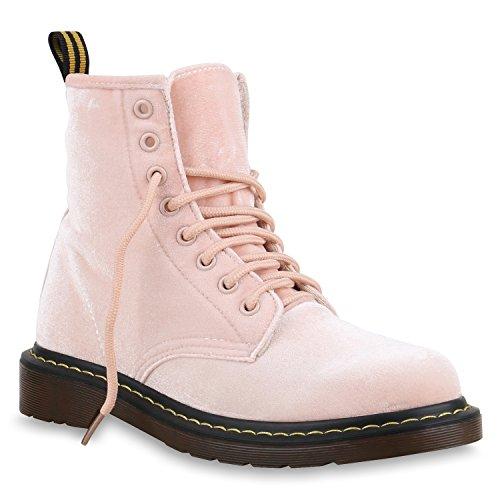 Damen Stiefeletten Samtoptik Worker Boots Schnürstiefel Rosa