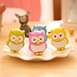 Sshakuntlay® Cute Owl Rubber Erasers For Kids 3D Candy Color Drawing Eraser Stationery Gift Toy Office School Supply (Pack Of 12) (Assorted Color)
