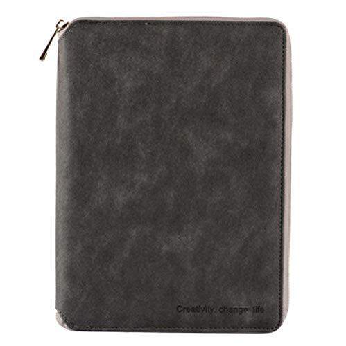 EUHOKD Notizbuch Klassische Leder Reißverschluss Binder Agenda Planer Organizer Notebook Große Kapazität Büro Dunkelgrau A5 255 190Mm