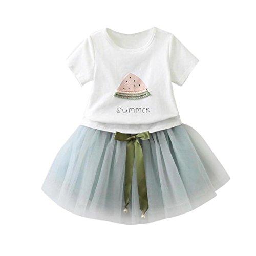 Sonnena vestido Niña vestido,Sonnena impresión tops blanco de manga corta camiseta + lindo rosa tutú falda de gasa para chica bebé estilo elegante y casual (7 años, AZUL)