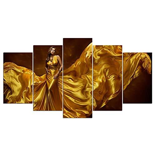 JZGDH Impression d'art Modulaire Cadre Peinture Affiche HD 5 Pièces/Pcs Sexy Robe d'or Femme Toile Mur Photo pour La Décoration Intérieure Chambre des Enfants 200x100cm