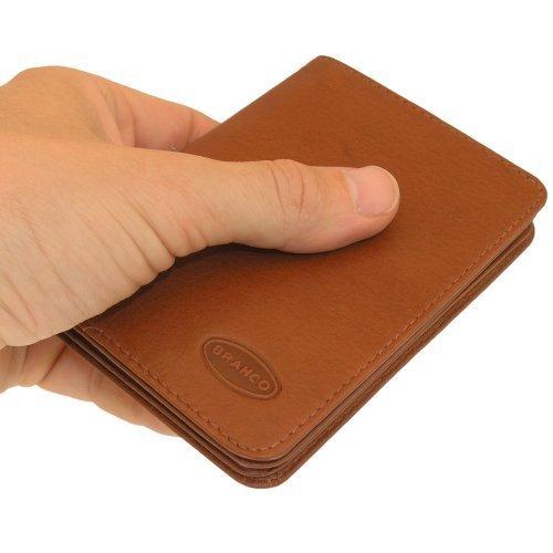 A7 Hülle / Etui / Mappe z.B. für Ausweis, Fahrzeugschein, Führerschein und Kredit-Karten, Echt-Leder, Braun, Branco 302 - 2