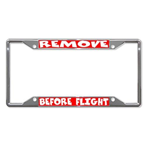 Moon Remove Before Flight Metall-Kennzeichenrahmen mit 4 Löchern für Autos, für Herren und Damen, Rot