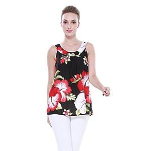 Mujeres-camiseta-con-capucha-floral-hawaiana-en-Negro-con-hibisco-gigante-rojo-y-hoja-verde