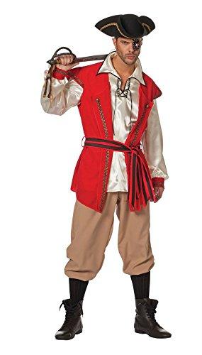 Wilbers Federbein Herren EU 52/UK und US 42Piraten Bart Kostüm (rot)