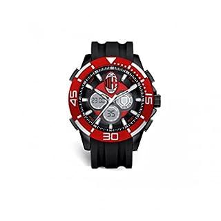 A.C. Milan–Uhr Offizielle A.C. Milan–Sport 46mm Armband schwarz und Zifferblatt schwarz Krone rot